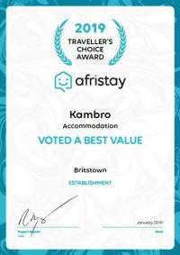 Afristay 2019 Travellers Choice Award - Best Value in Britstown